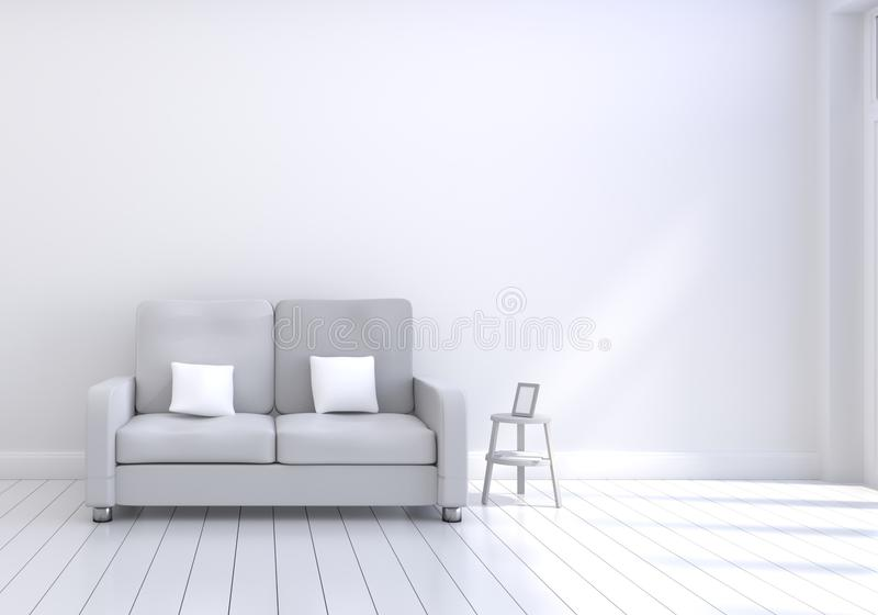 Modern interior design of living room with grey sofa with white and wooden glossy floor and photo frame. White cushions elements. vector illustration