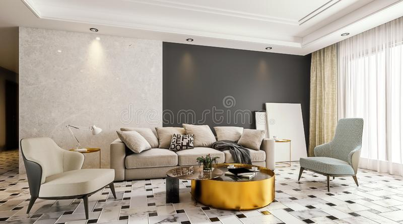 Modern interior design of living room with marble flooring and large glass door with terrace, dropped suspended ceiling, 3d vector illustration