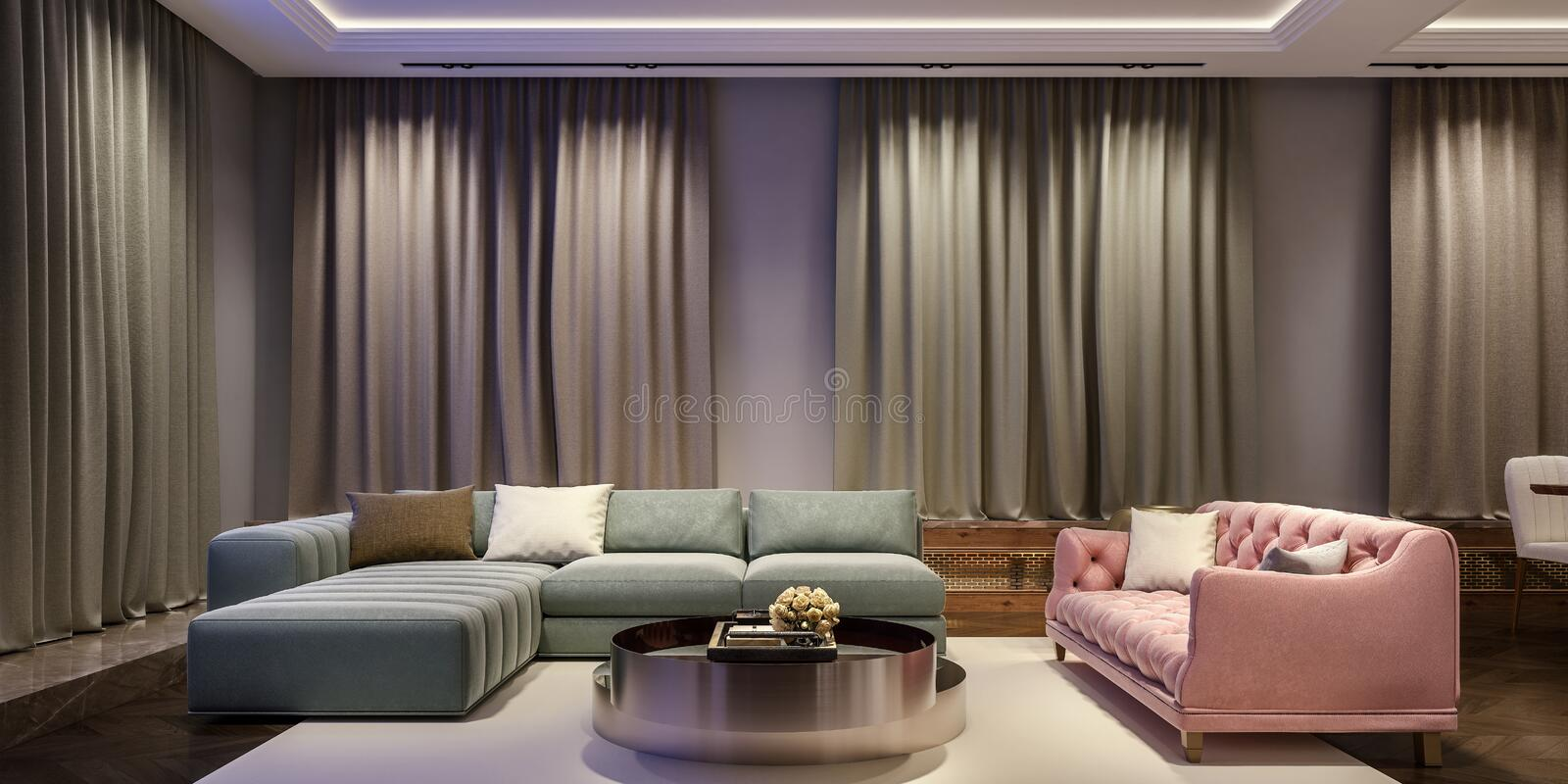 Modern interior design of living room, night scene with contrasting colors, millennial pink couch with complementary green sofa royalty free stock photos