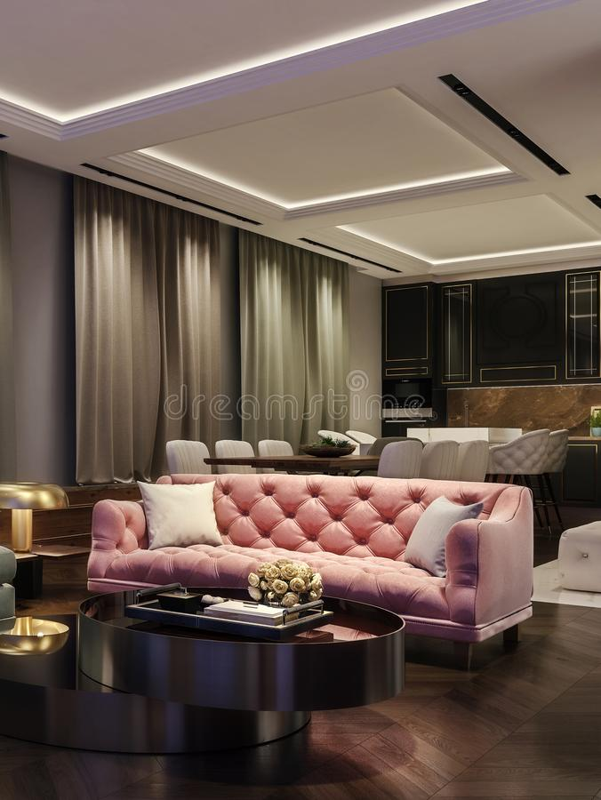 Modern interior design of living room, night scene with contrasting colors, millennial pink couch, kitchen and dinning room royalty free illustration