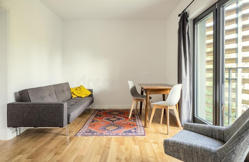 Modern interior design. Living room of small apartment stock photography