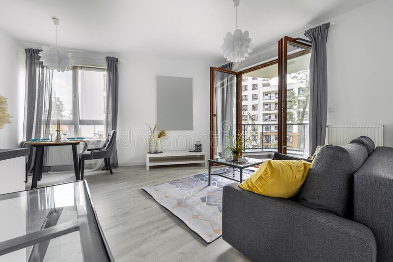 Modern interior design - living room royalty free stock image