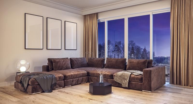 Modern interior design living room with snow, trees and night sky in background royalty free stock photo