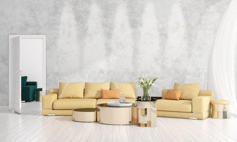 Modern interior design of livingroom in vogue with plant, yellow divan, copyspace. Horizontal arrangement. 3D rendering royalty free stock photo