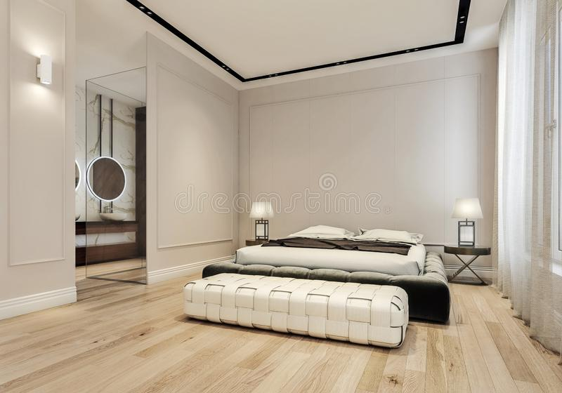 Modern interior design of master bedroom with large bathroom, king size bed with bed sheets. Wooden flooring and classic style gray walls with decorative royalty free stock photo