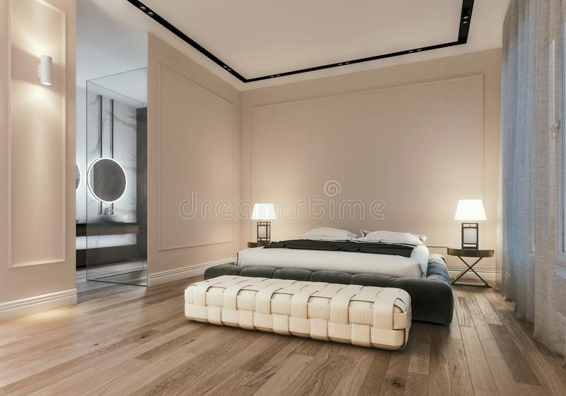 Modern interior design of master bedroom with large bathroom, king size bed with bed sheets, night scene vector illustration