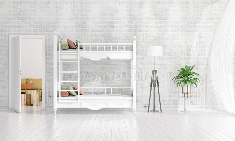 Modern interior design of nursery room in vogue with plant and copyspace in horizontal arrangement. 3D rendering. stock photos