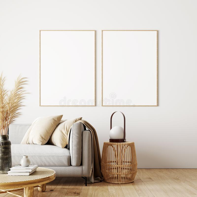 Free Modern Interior Design Of Living Room In Natural Colors With Dry Plants Decoration And Empty White Mock Up Picture Frames Stock Images - 215173394