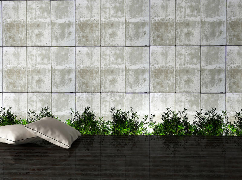 Download Modern Interior Design With A Plants And Pillows. Stock Illustration - Image: 23620734