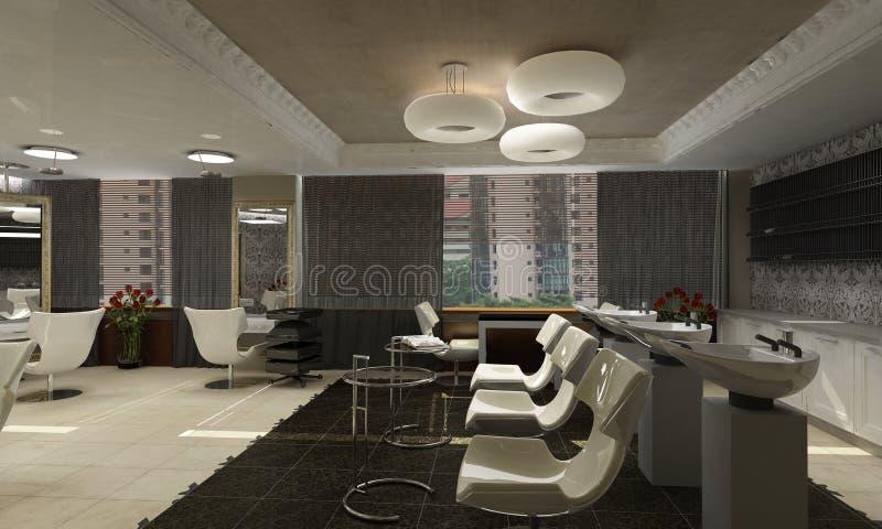 Modern interior design (privat apartment 3d render royalty free illustration