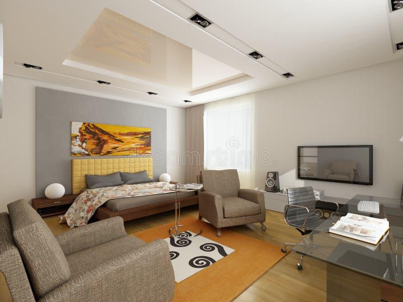 Modern interior design (privat apartment 3d render stock illustration