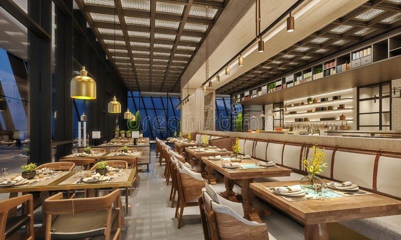 Modern interior design of restaurant lounge, oriental arabic style with wire mesh ceiling and hidden lights,  wood and bronze gold stock photo