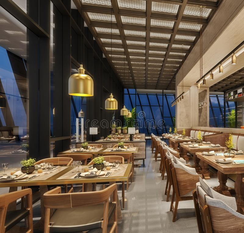 Modern interior design of restaurant lounge, oriental arabic style with wire mesh ceiling and hidden lights,  wood and bronze gold stock images
