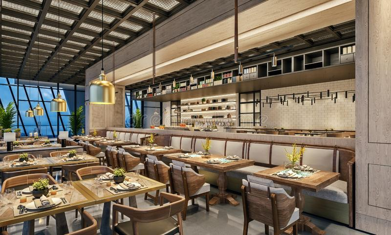 Modern interior design of restaurant lounge, oriental arabic style with wire mesh ceiling and hidden lights,  wood and bronze gold royalty free illustration