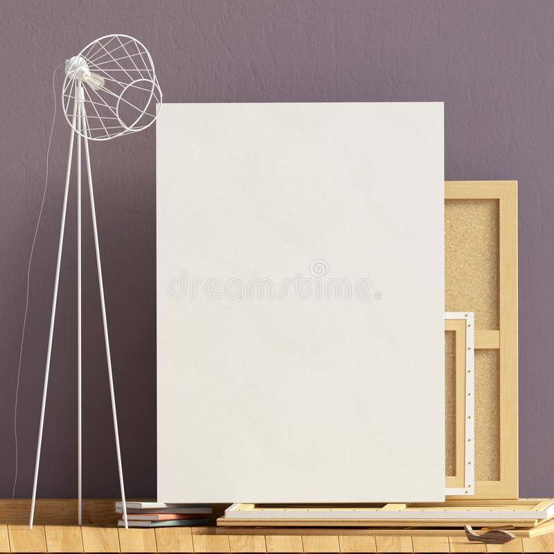 Modern interior design in Scandinavian style with lamp and canvas. Mock up poster. 3D illustration. vector illustration