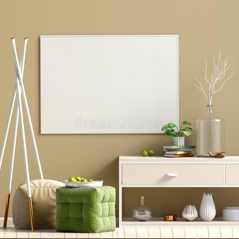 Modern Interior Design In Scandinavian Style. Mock Up Poster. 3D ...