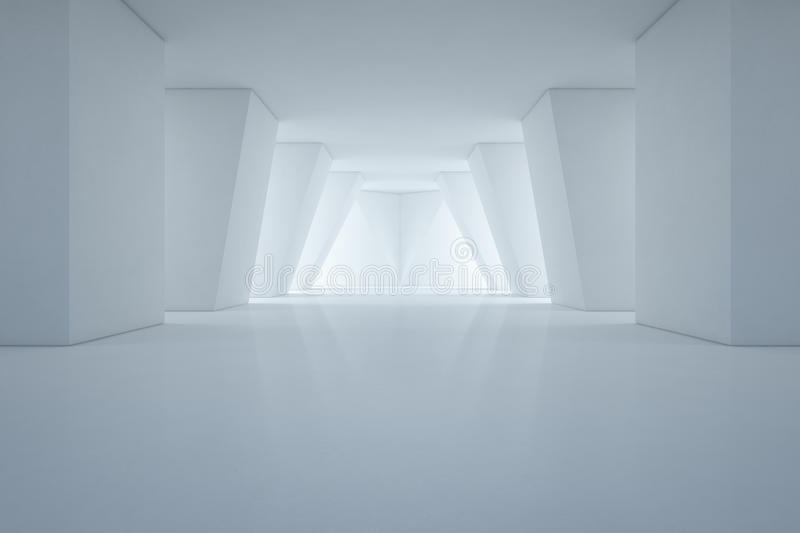 Modern interior design of showroom with empty floor and white wall background royalty free stock photo