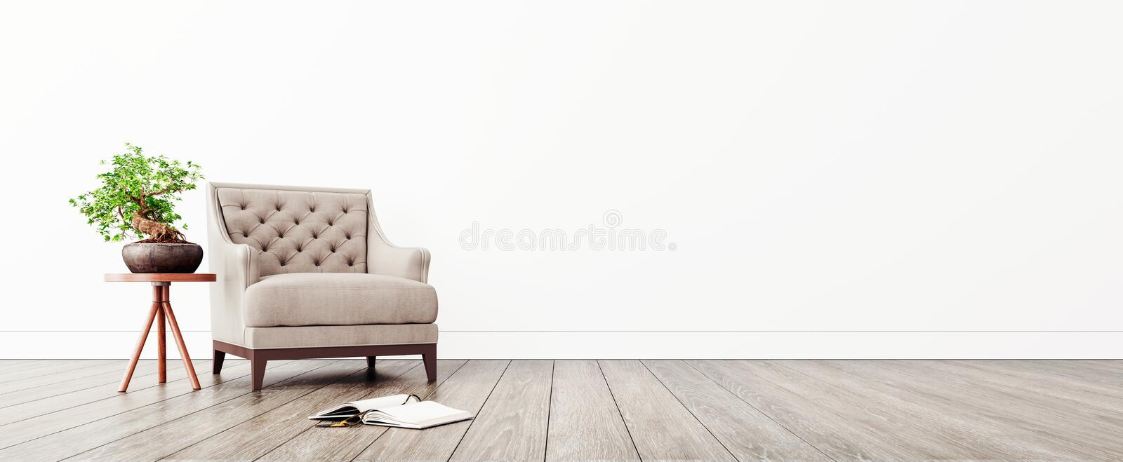 Modern interior design with white empty mock-up wall and beige armchair royalty free illustration