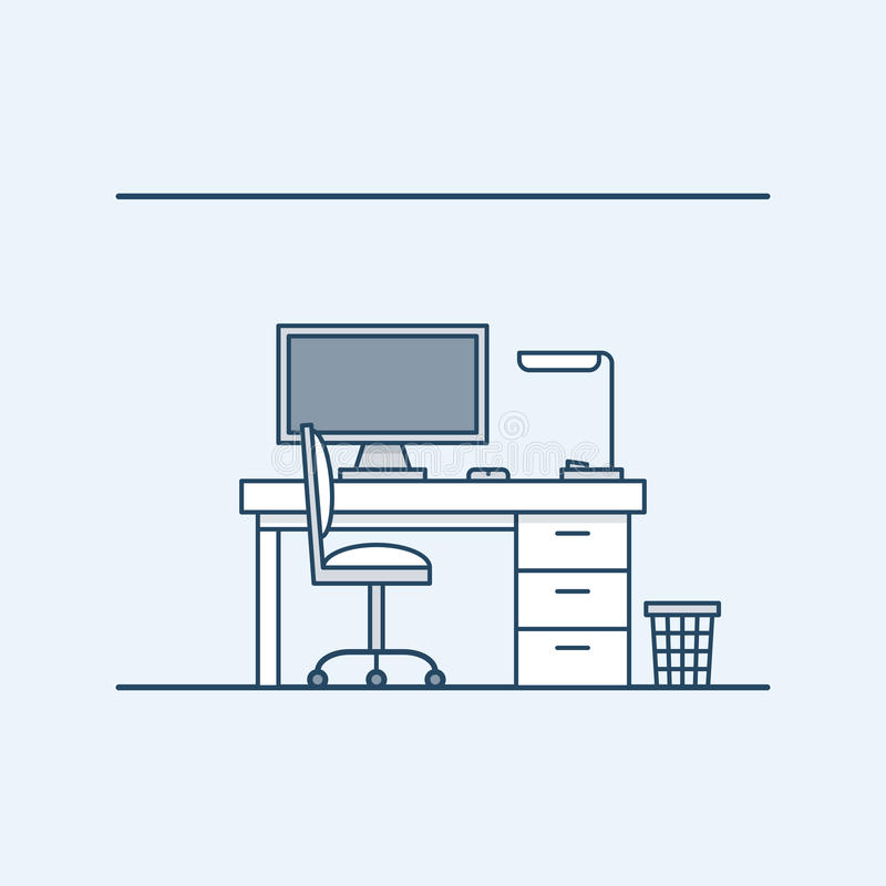Modern interior design workplace in the home or office. The computer and desk lamp. chair and wastebasket. Vector vector illustration
