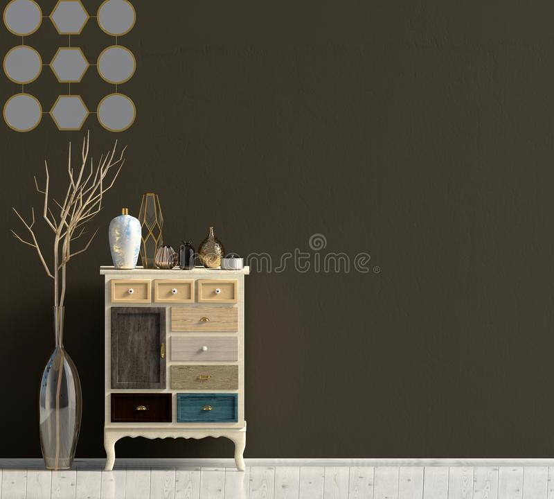 Modern interior with dresser. Wall mock up. stock illustration