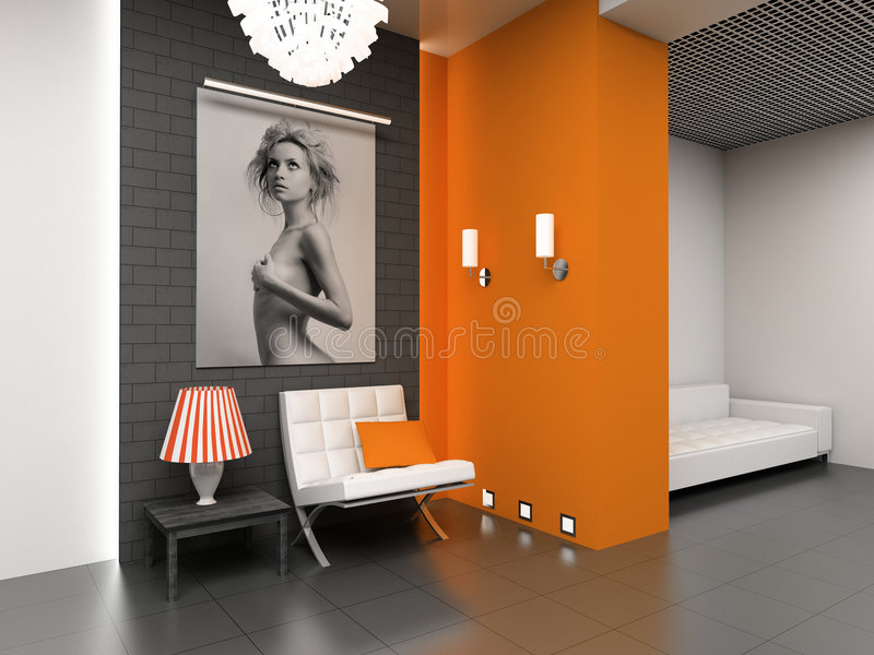 Download Modern Interior With The Fashionable Picture. Stock Image - Image: 1939783