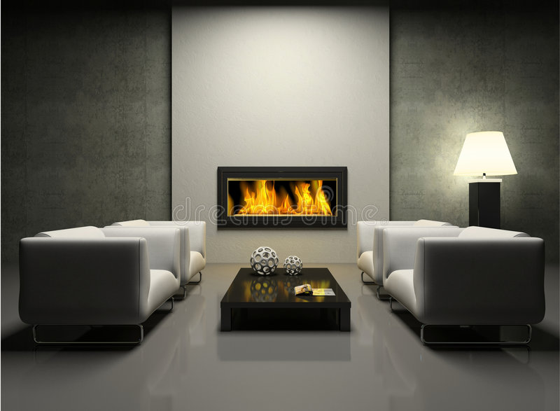 Modern interior with fireplace vector illustration