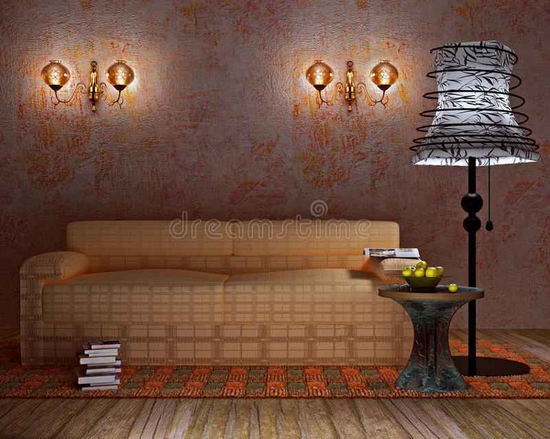 Modern interior with floor lamp and wall lamp. Modern interior with floor lamp, wall lamp and books stock illustration