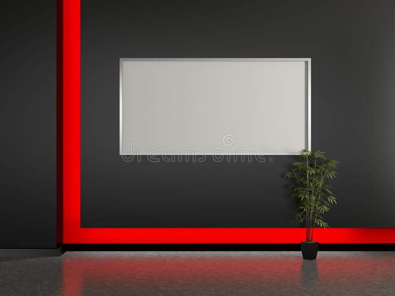 Modern Interior And Frame On The Wall. Stock Illustration