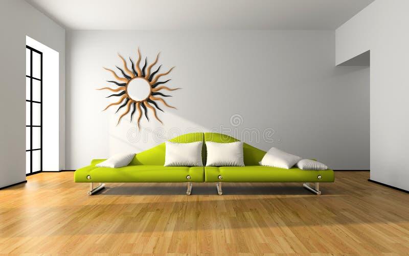 Modern interior with green sofa stock image