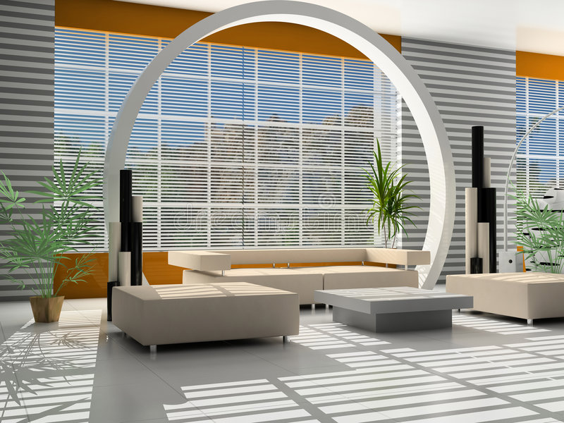 Modern interior of a hall. With a zone of rest vector illustration