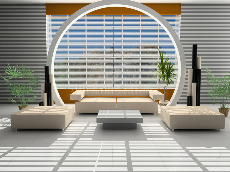 Modern interior of a hall. With a zone of rest royalty free illustration