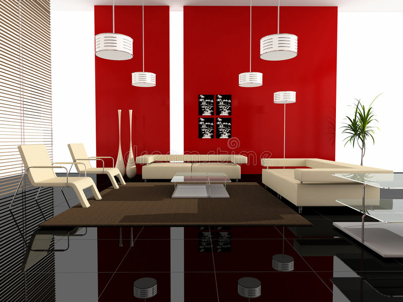 Modern interior of a hall. With upholstered furniture royalty free illustration