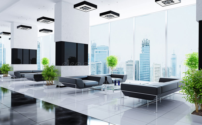 Download Modern interior of a hall stock illustration. Image of glass - 9286594