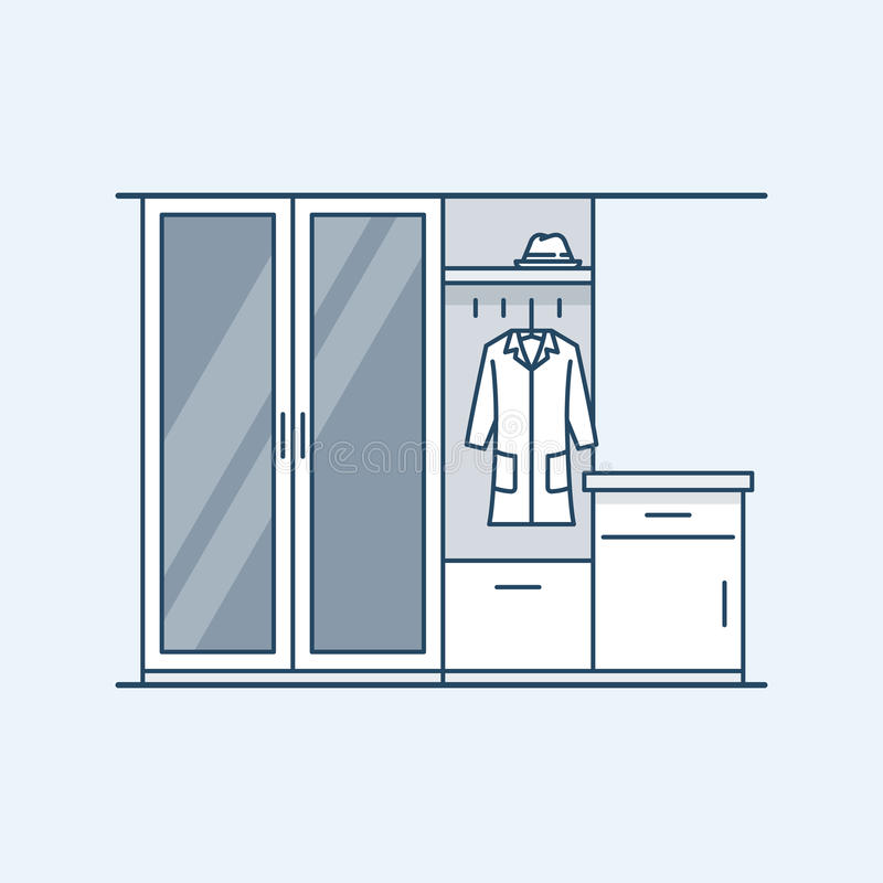 Modern interior hallway with a wardrobe and a bedside table. The mirror in the door. Coat and hat. Vector illustration royalty free illustration