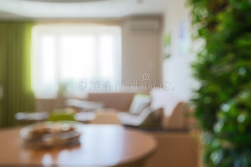 Modern interior of house or flat as creative abstract blur background. Vertical garden in living room. Interior home decoration with natural green plant wall royalty free stock image