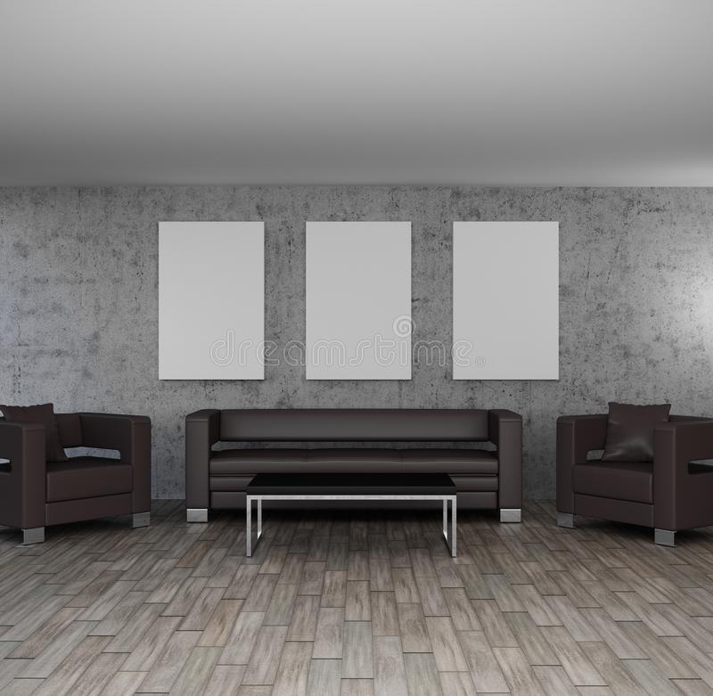 Modern interior illustration living room with empty frames wall decor. Mock up stock illustration