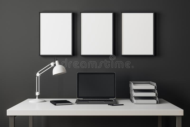 Modern interior with laptop and billboard royalty free illustration