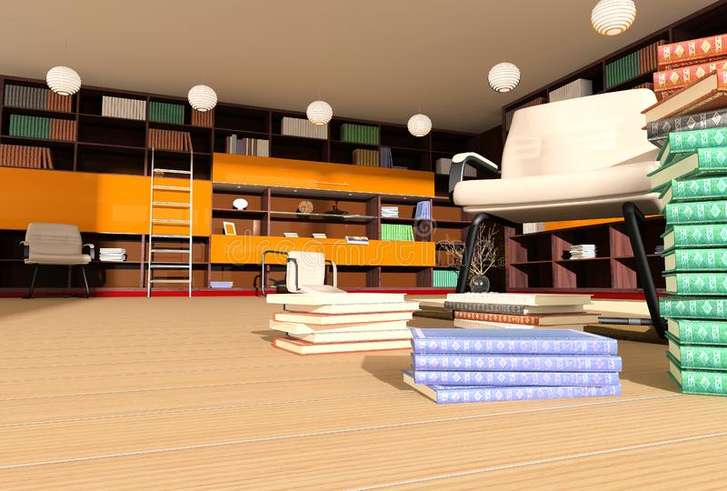 Modern interior of library royalty free stock photography