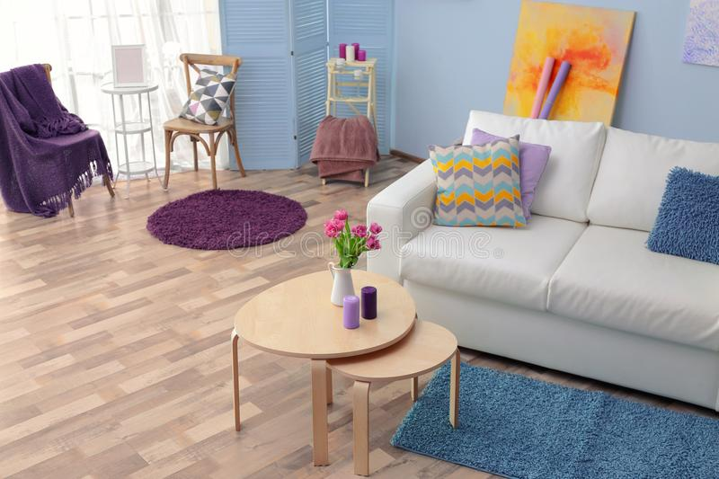 Modern interior with accent. Modern interior with lilac accent stock images