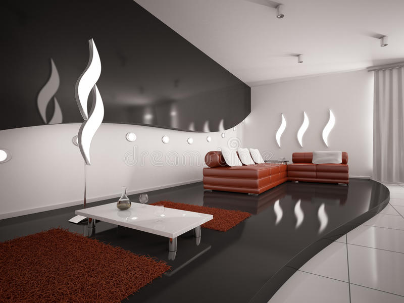 Modern interior of living room 3d stock images
