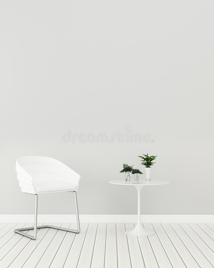 Modern interior of living room with chair and table. White room in condominium. Modern interior of living room with chair and table.Empty White room in royalty free illustration