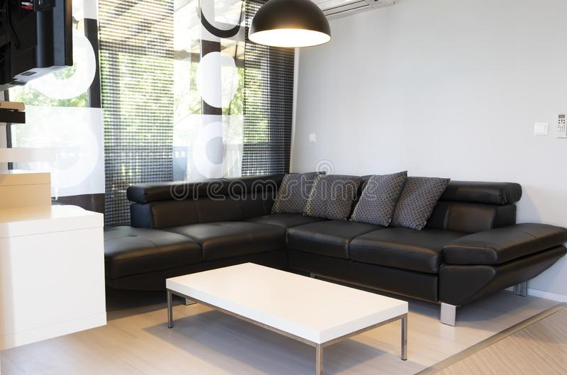 Modern interior of living room with comfortable black leather sofa royalty free stock photo