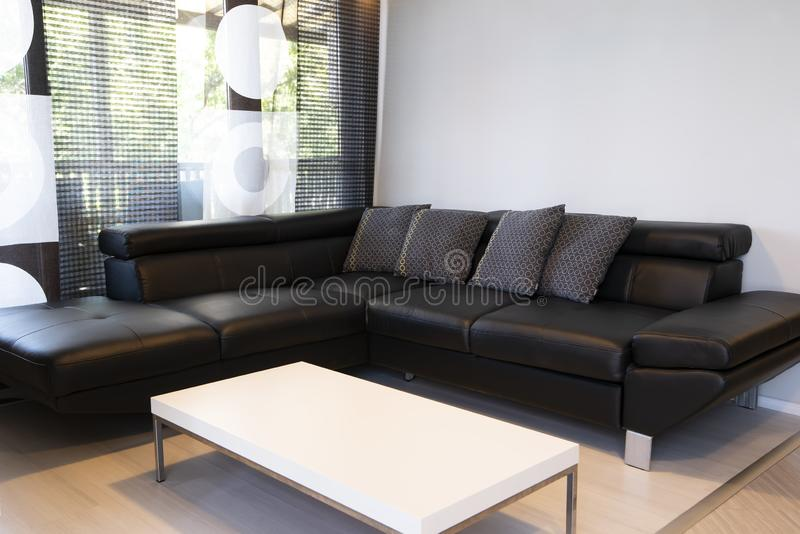 Modern interior of living room with comfortable black leather sofa stock photography