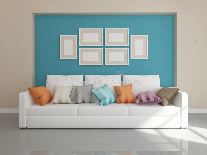 Modern interior of living room stock photos