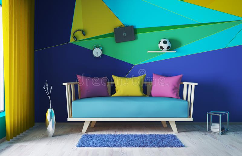 Modern interior of living room 3d rendering. Interior design of modern living room with sofa 3d rendering vector illustration