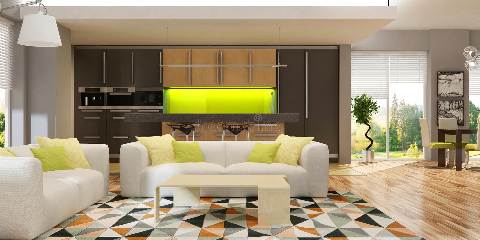Modern interior of living room with the kitchen in a house or apartment in grey colors with green accents stock photo