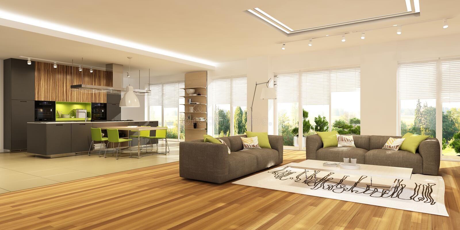 Modern interior of living room with the kitchen in a house or apartment in grey colors with green accents royalty free stock photos