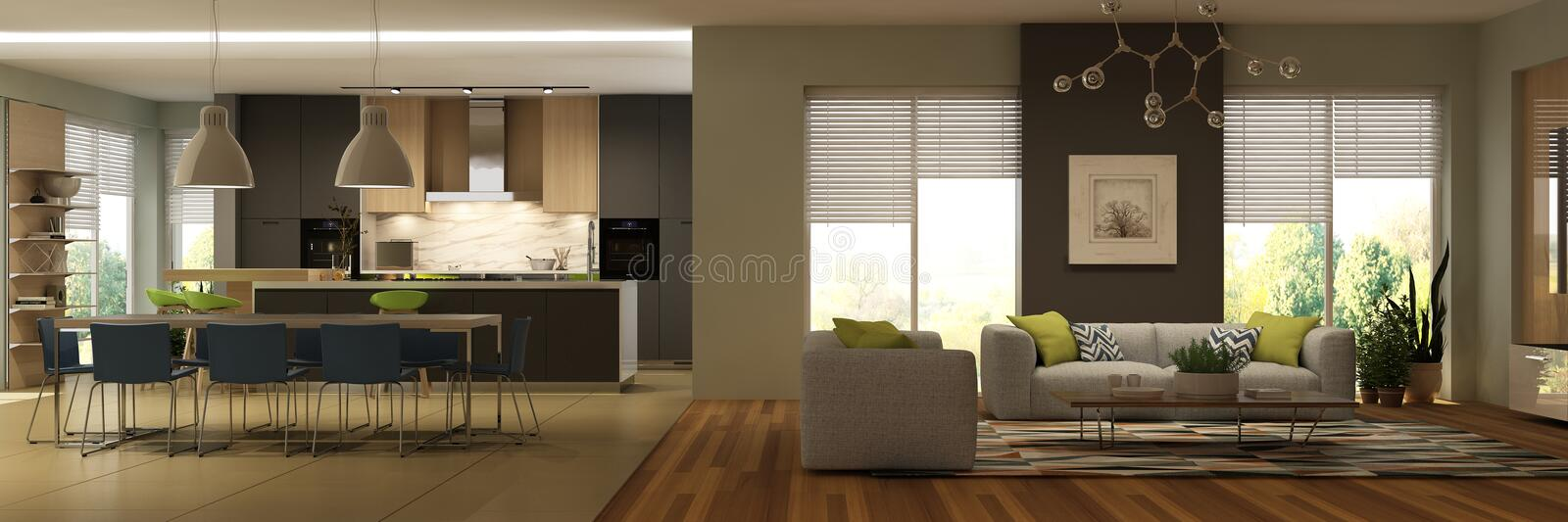 Modern interior of living room with kitchen. stock images