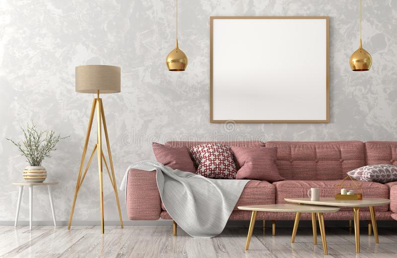 Modern interior of living room with pink sofa 3d rendering. Interior of living room with pink sofa, wooden coffee tables floor lamp and poster 3d rendering stock illustration