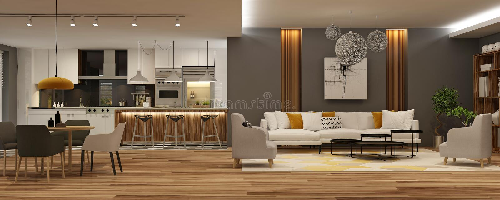 Modern interior of living room united with red kitchen in scandinavian style royalty free stock photos